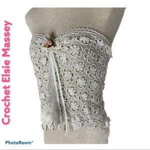 VTG Elsie Massey Crochet White Rose Satin